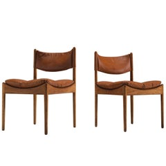Kristian Solmer Vedel Cognac Leather and Oak Side Chairs