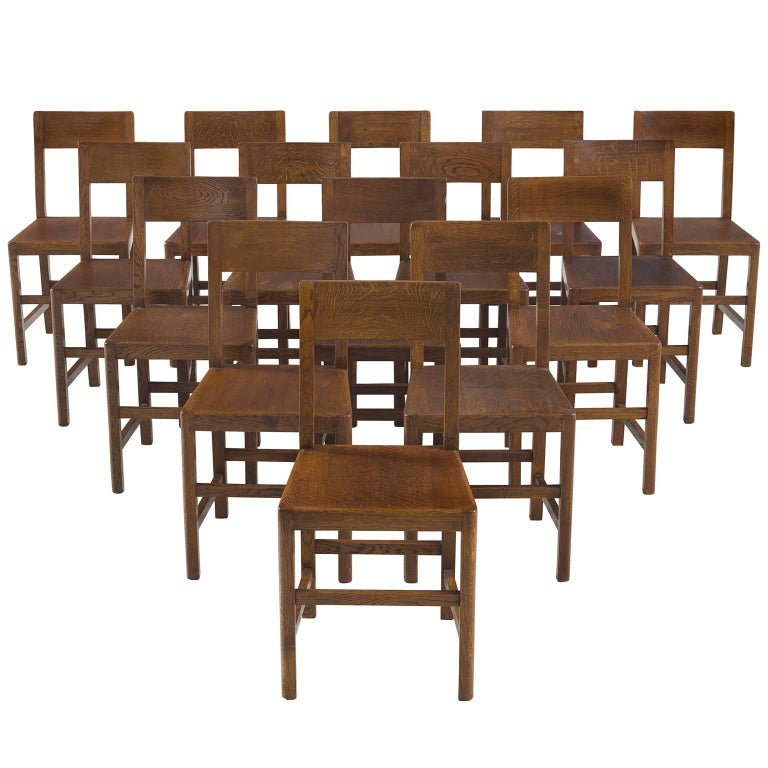 Large Set of Belgian Oak Court Chairs