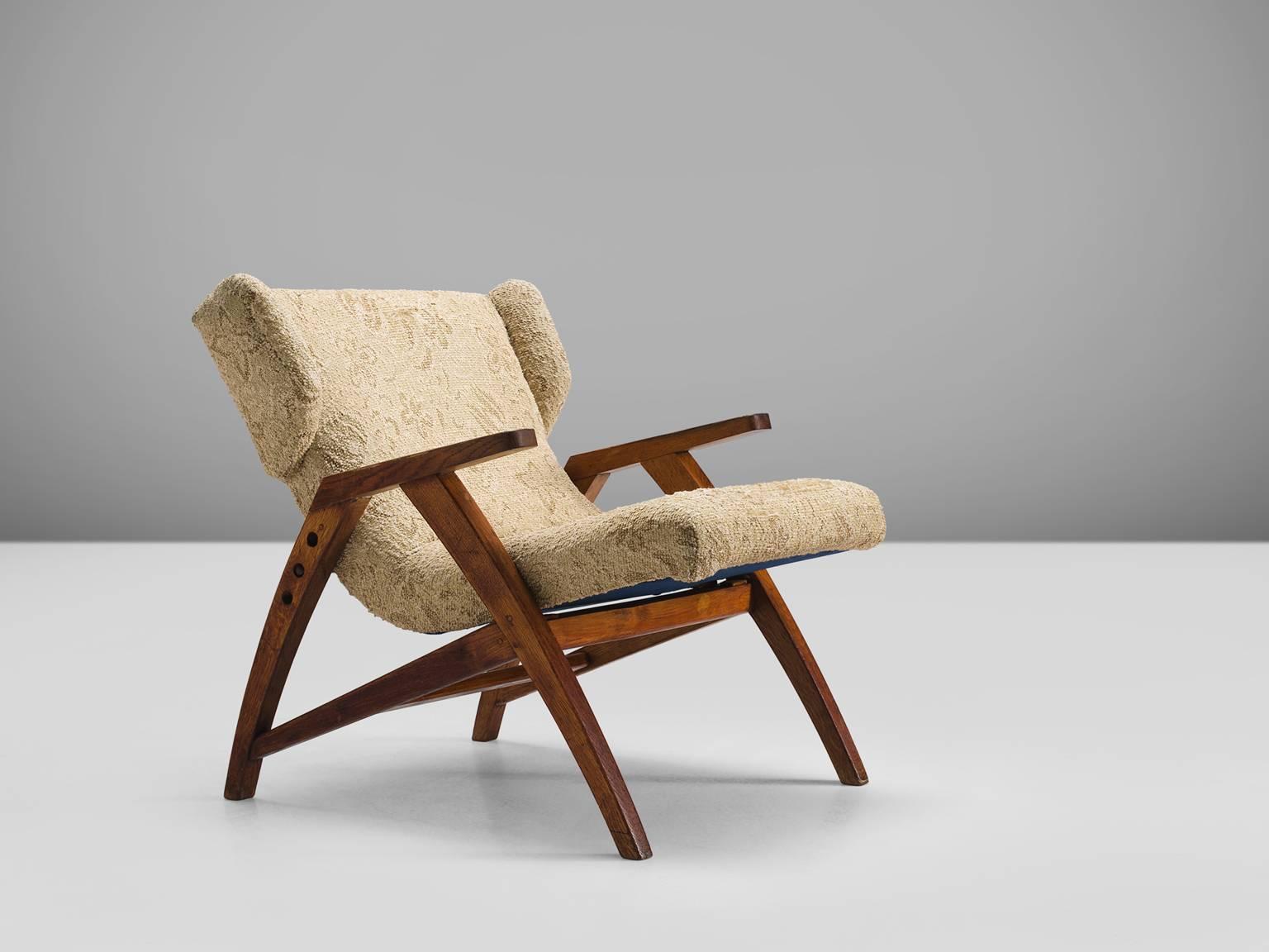 Easy Chair, Wood, Beige Brown Fabric, Oak, Czech Republic, 1940s.