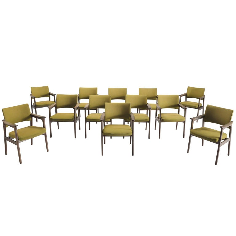 Set of 12 Oak Scandinavian Armchairs