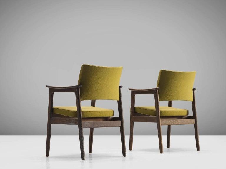 Fabric Set of 12 Oak Scandinavian Armchairs For Sale