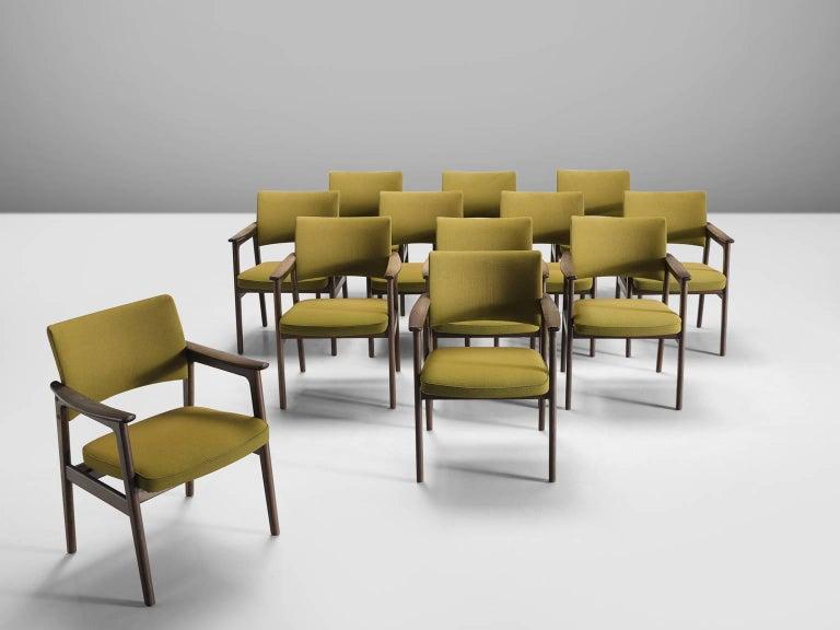 Scandinavian Modern Set of 12 Oak Scandinavian Armchairs For Sale