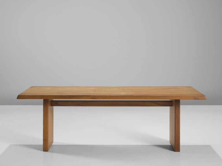 Mid-Century Modern Pierre Chapo Large Dining Table Model T14D For Sale