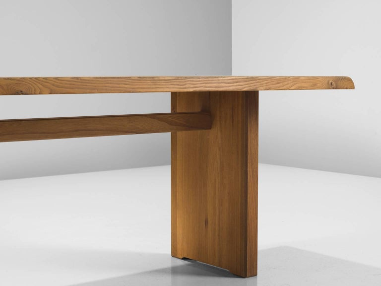 French Pierre Chapo Large Dining Table Model T14D For Sale