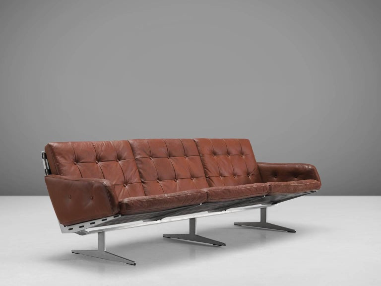 German Three Seat Leather and Steel Sofa For Sale at 1stdibs