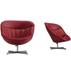 Rudolf Wolf 'Modello' Swivel Easy Chairs in Red Faux Leather Upholstery