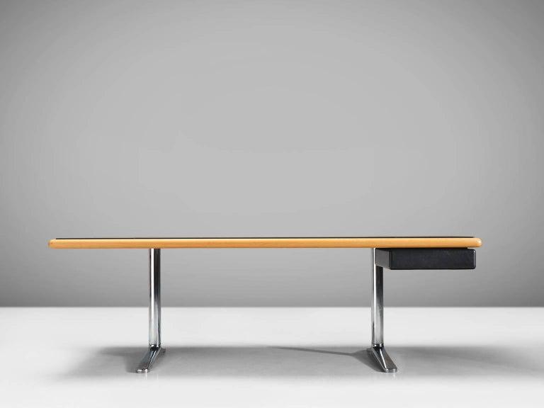 Mid-Century Modern Warren Platner Executive Desk with Black Leather Top For Sale