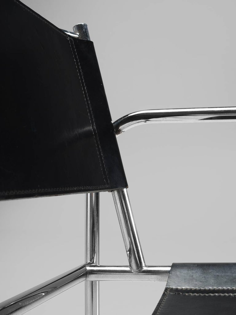 Black Leather and Tubular Steel Armchairs For Sale 4