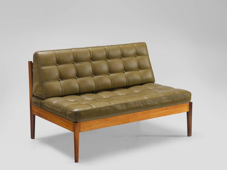 finn juhl  u0026 39 diplomat u0026 39  sofa in olive green leather and