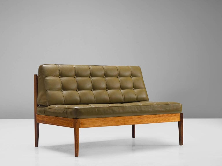 Finn Juhl 'Diplomat' Sofa In Olive Green Leather And Rosewood At 1stdibs