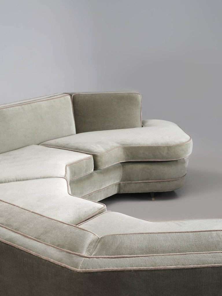 Harvey Probber Large Sofa In Mint Grey Velvet For Sale At