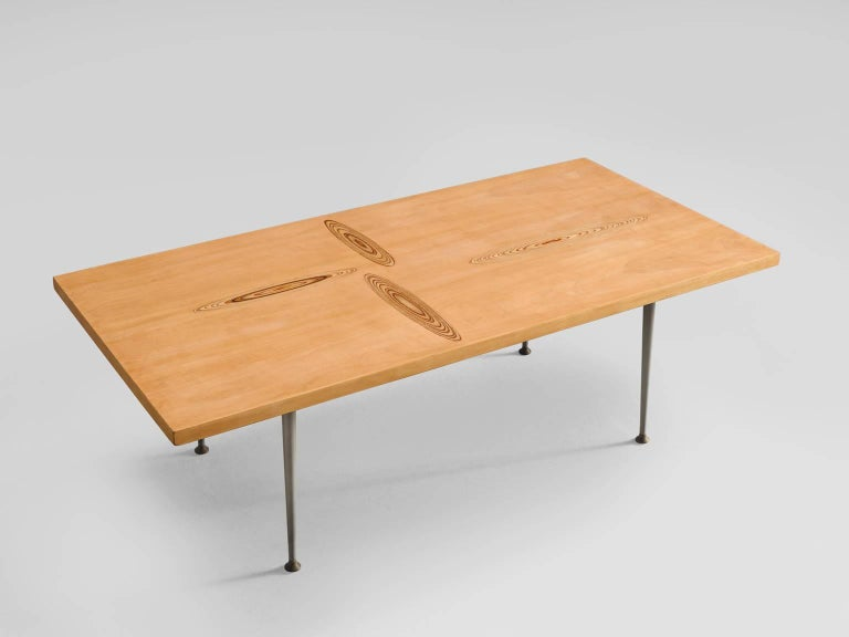 Tapio Wirkkala for Asko, cocktail table in oak and metal, Finland, 1960s. 