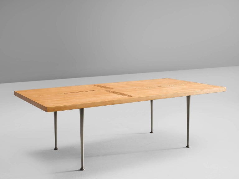 Finnish Tapio Wirkkala Coffee Table in Oak with Inlayed Top For Sale