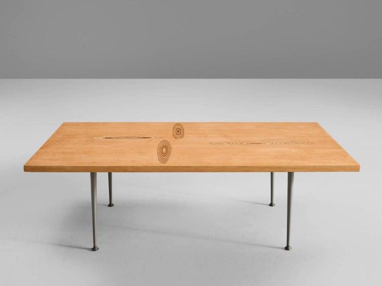Scandinavian Modern Tapio Wirkkala Coffee Table in Oak with Inlayed Top For Sale