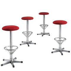 Postmodern Metal Barstools in Red Corduroy