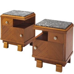 Art Deco Nighstands in Mahogany and Stone