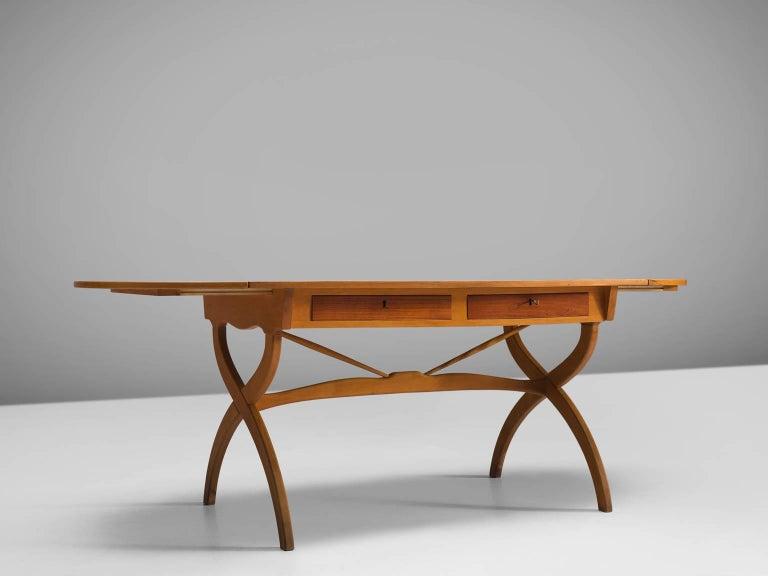 Danish Børge Mogensen Drop-Leaf Writing Table in Teak and Oak For Sale