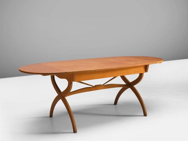 Scandinavian Modern Børge Mogensen Drop-Leaf Writing Table in Teak and Oak For Sale