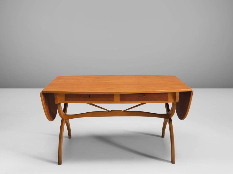 Mid-20th Century Børge Mogensen Drop-Leaf Writing Table in Teak and Oak For Sale