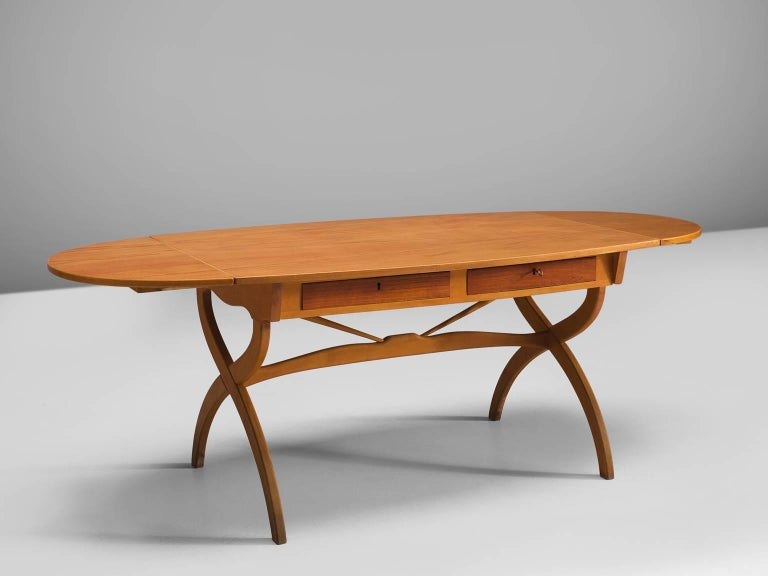 Børge Mogensen, writing table, teak and oak, Denmark, 1960s. 