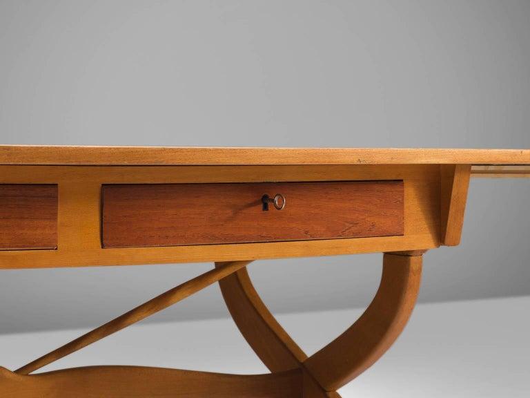 Børge Mogensen Drop-Leaf Writing Table in Teak and Oak For Sale 1