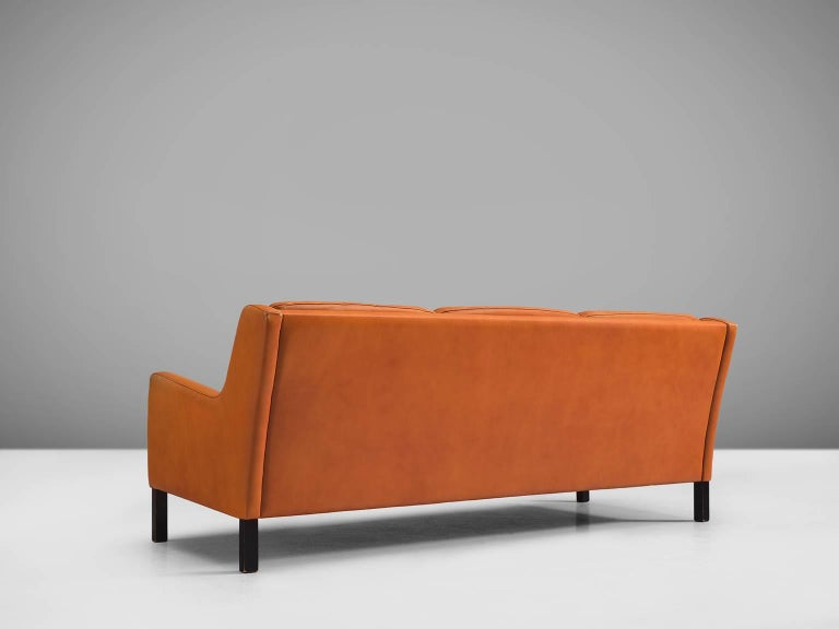 Mid-20th Century Danish Three-Seat Cognac Leather Sofa For Sale