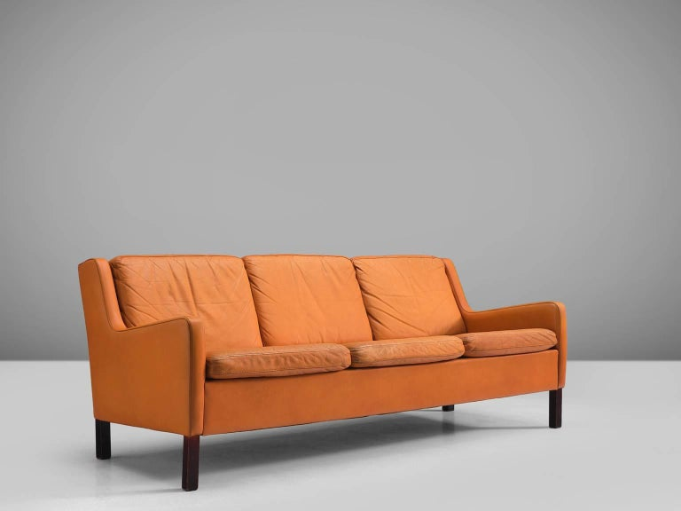 Scandinavian Modern Danish Three-Seat Cognac Leather Sofa For Sale