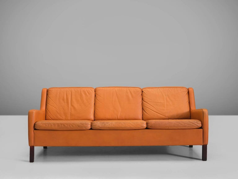 Danish Three-Seat Cognac Leather Sofa In Good Condition For Sale In Waalwijk, NL