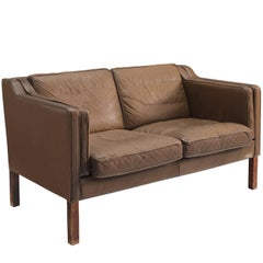 Danish Brown Leather Sofa for Fredericia Stolefabrik