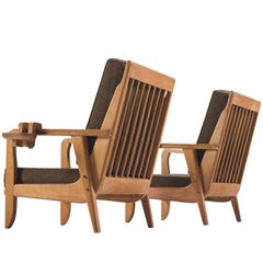 Chambron and Guillerme Solid Oak Lounge Chairs
