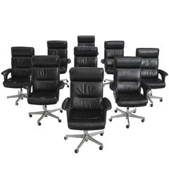Set of Nine Black Leather Conference Chairs