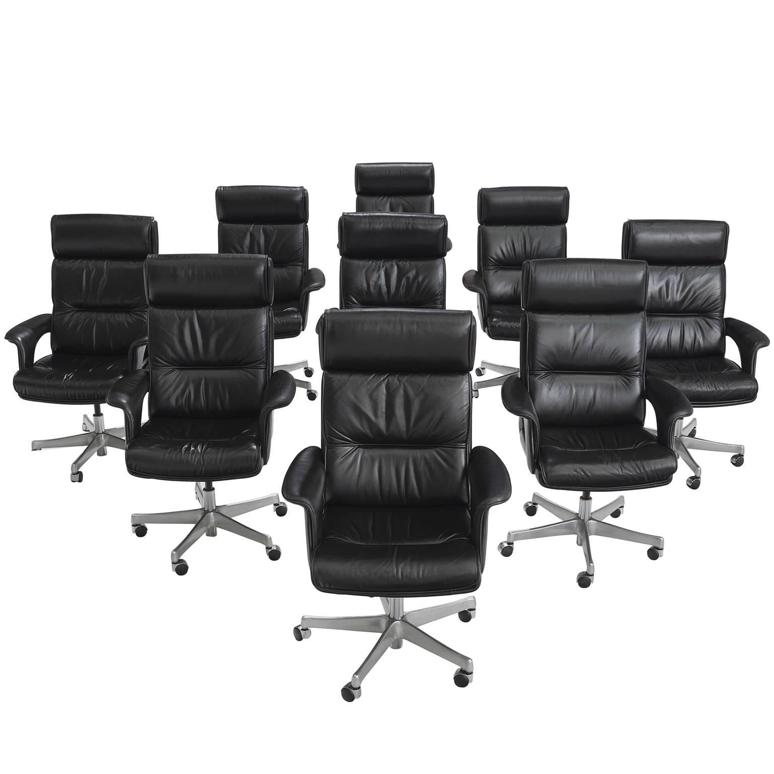 Set Of Nine Black Leather Conference Chairs For Sale