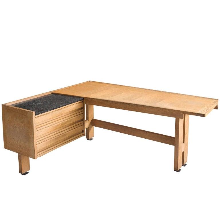 Guillerme & Chambron Corner Desk in Oak and Granite For Sale