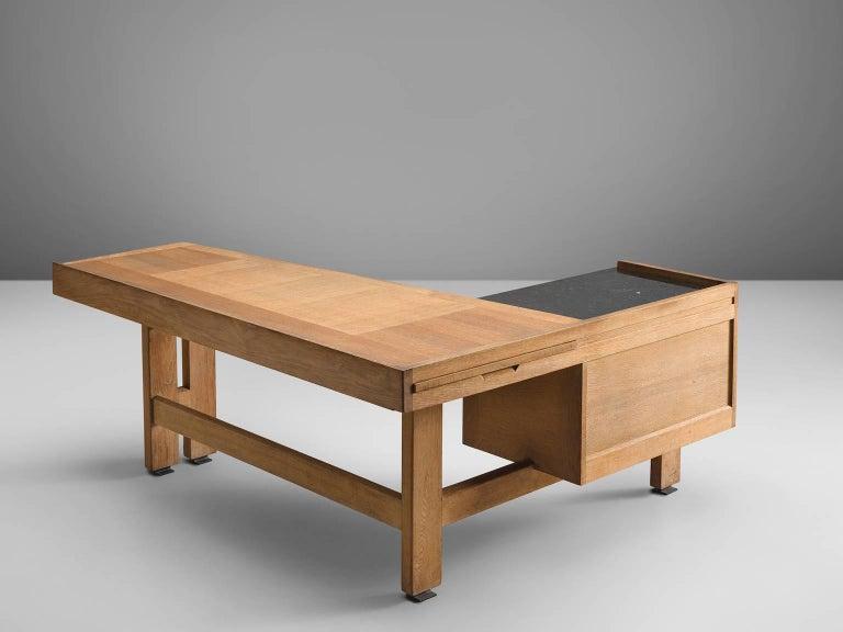 French Guillerme & Chambron Corner Desk in Oak and Granite For Sale