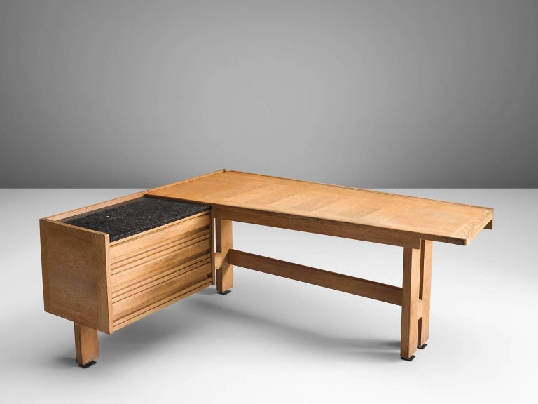 Guillerme et Chambron, desk, oak and granite, by France, 1960s. 