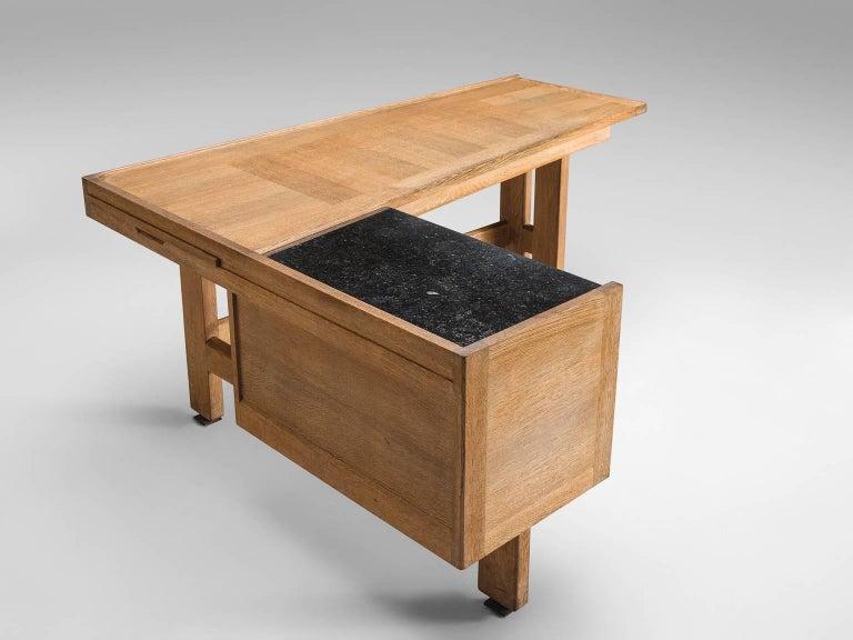 Mid-Century Modern Guillerme & Chambron Corner Desk in Oak and Granite For Sale