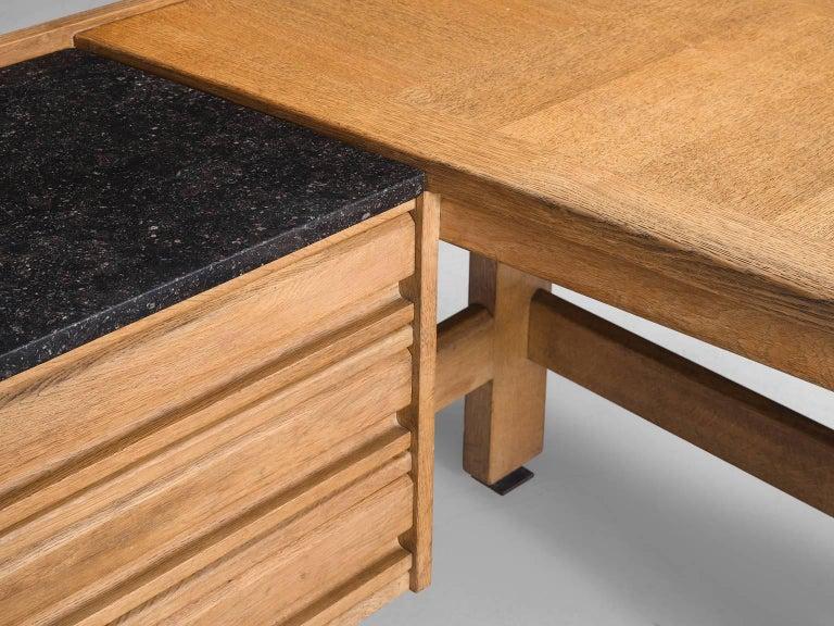 Guillerme & Chambron Corner Desk in Oak and Granite For Sale 1