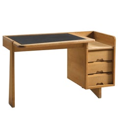 Guillerme & Chambron Original Leather and Oak Freestanding Desk