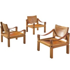 Pierre Chapo Grand Cognac Leather Elm Chairs, 1960s