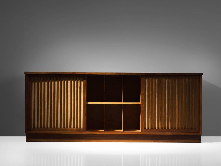 George Nakashima Cabinet with Walnut and Pandanus Cloth 3