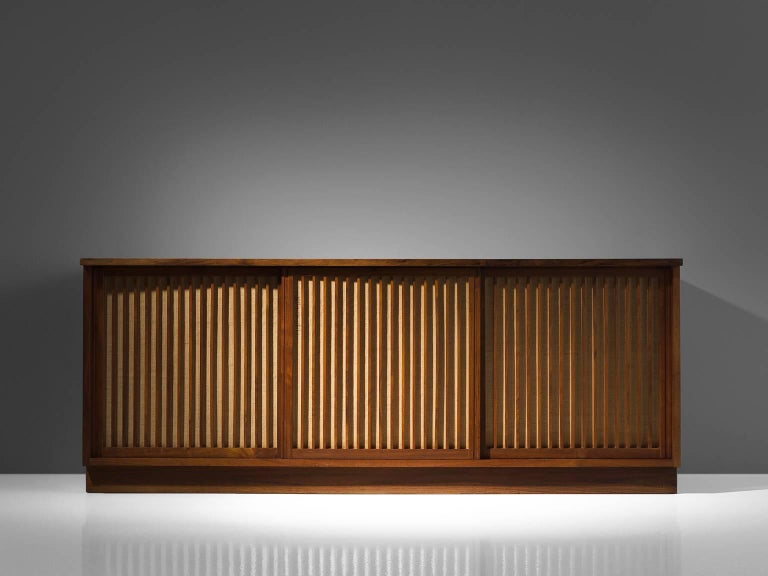 George Nakashima Cabinet with Walnut and Pandanus Cloth 2