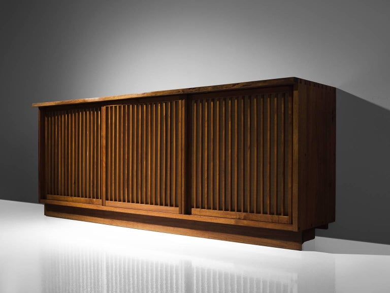 George Nakashima Cabinet with Walnut and Pandanus Cloth 4
