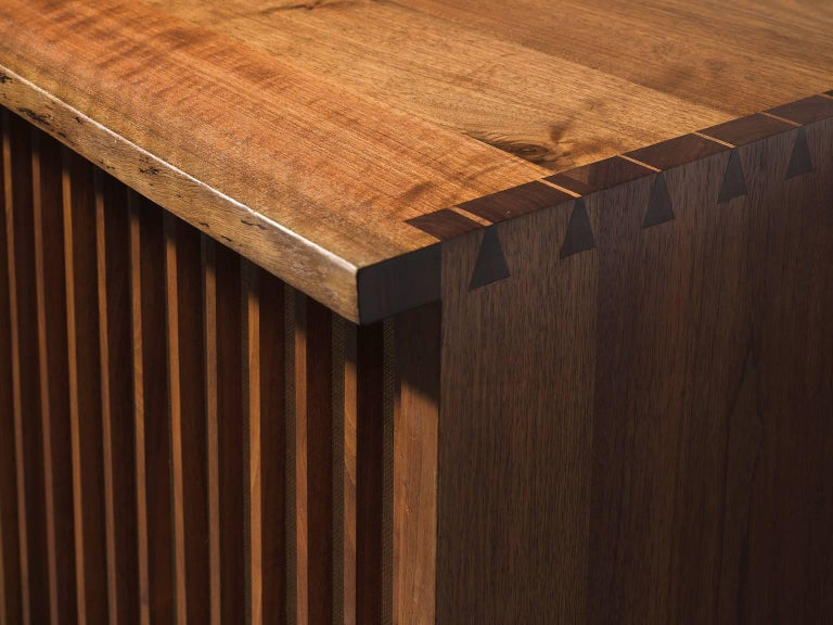 George Nakashima Cabinet with Walnut and Pandanus Cloth 7