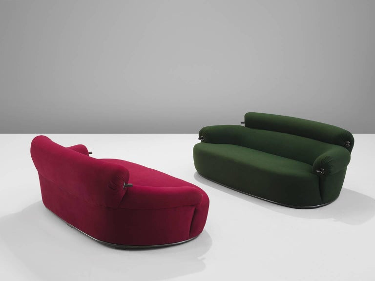Luigi Caccia Dominioni for Azucena, toro sofa, red and green fabric, Italy, circa 1960