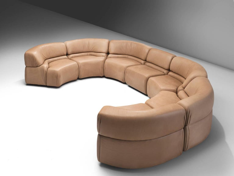 De Sede 'Cosmos', beige brown leather, seven elements, Switzerland, 1970s.  Thick, high-quality modular sofa made by De Sede in Switzerland in the 1970s. Due to the separate elements, the couch can be used in a variety of different positions. The