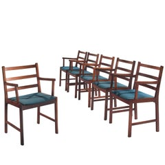 Danish Rosewood Armchairs with Blue Wool