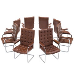 Robert Haussmann for De Sede Set of Eight Leather Chairs