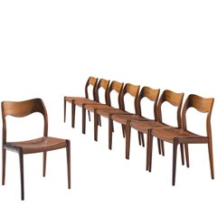Niels O. Moller Dining Chairs in Rosewood and Original Leather Upholstery