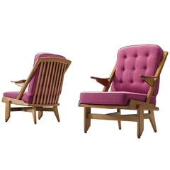 Pair of Pink Guillerme and Chambron Lounge Chairs