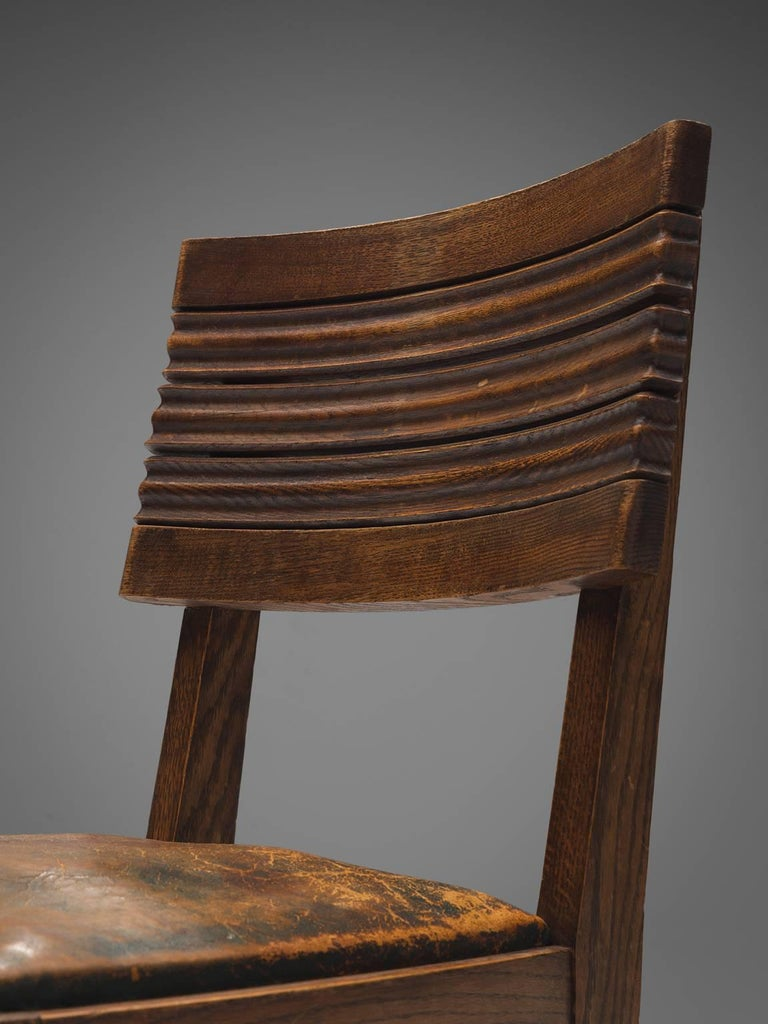 Gaston Poisson Set of Six Leather and Oak Dining Chairs For Sale 2